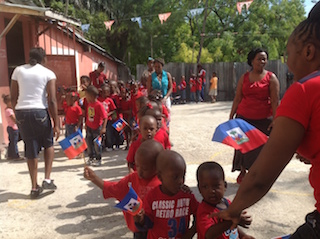 Sopudep children celebrate Haitian Flag Day